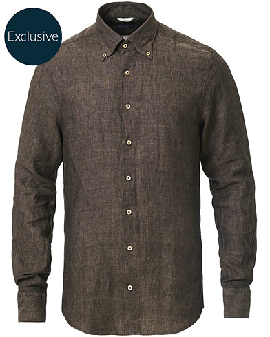 Stenströms Slimline Button Down Linen Shirt Brown i gruppen Kläder / Skjortor / Casual hos Care of Carl (16679711r)