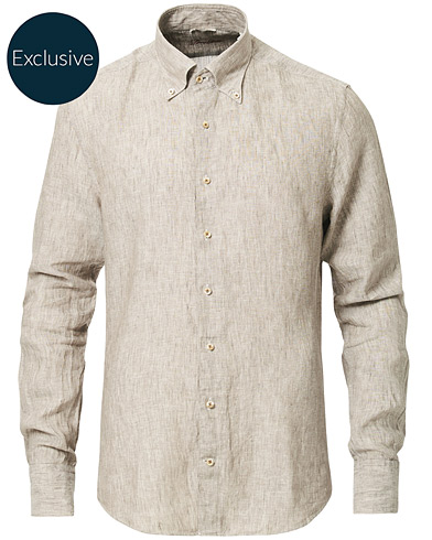 Stenströms Slimline Button Down Linen Shirt Beige i gruppen Kläder / Skjortor / Casual hos Care of Carl (16679811r)