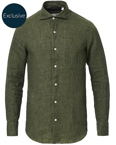 Finamore Napoli Tokyo Linen Pocket Sport Shirt Forest Green