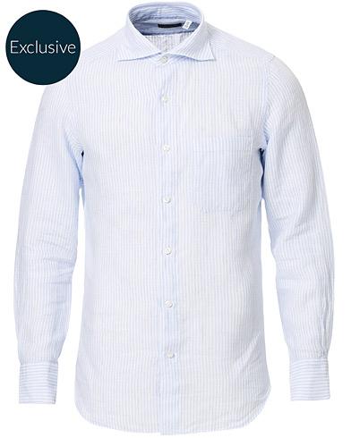 Finamore Napoli Tokyo Striped Linen Pocket Shirt White/Light Blue