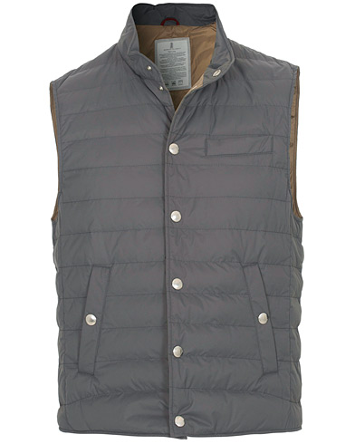 Brunello Cucinelli Matte Nylon Try-Layer Gilet Dark Grey