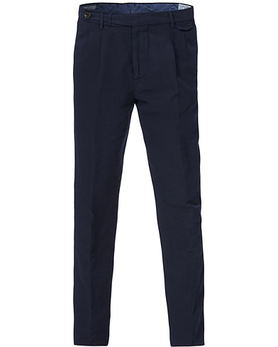 Brunello Cucinelli Slim Fit Cotton/linen Pleated Trousers Navy