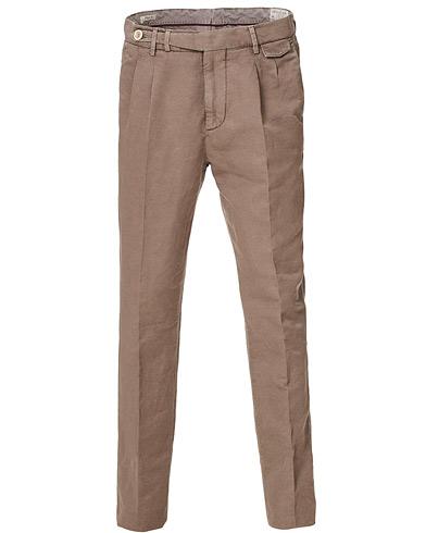 Brunello Cucinelli Slim Fit Cotton/linen Pleated Trousers Brown