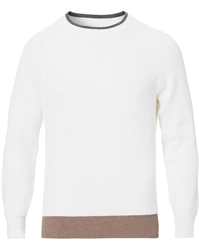 Brunello Cucinelli Soft Cotton Ribbed Sweater White/Grey