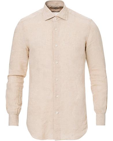 Mazzarelli Linen Cut Away Shirt Sand