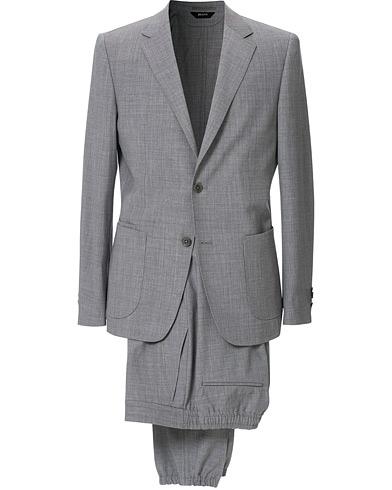 Z Zegna Techmerino Washable Wool Suit Light Grey