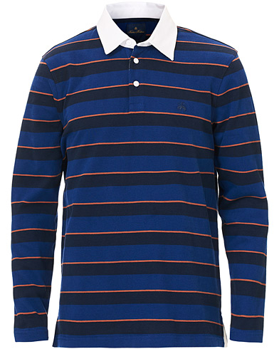 Brooks Brothers Soft Cotton Striped Rugby  Navy/Orange