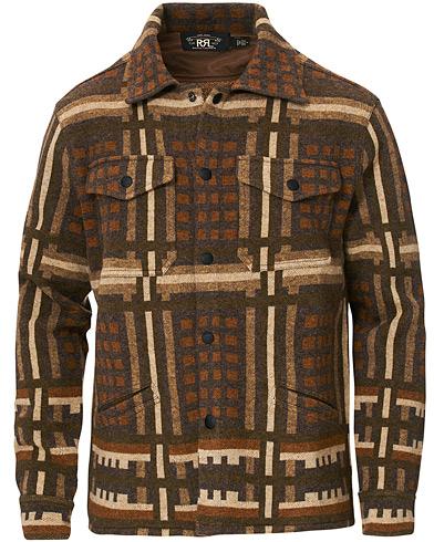 RRL Wool Workshirt Sweater Brown Multi