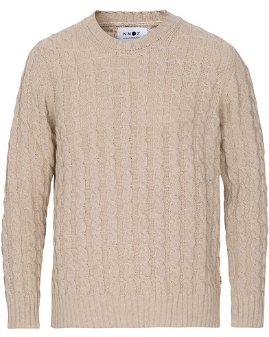 NN07 Fabian Cotton Cable Crew Neck Light Khaki