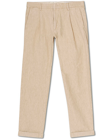 NN07 Codo Linen/Cotton Pleated Turn Up Trousers Nature