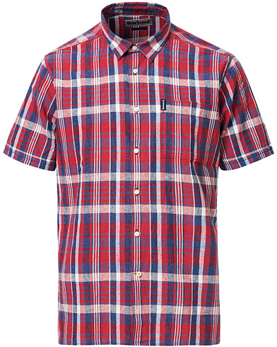Barbour Lifestyle Cotton/Linen Short Sleeve Check Shirt Red i gruppen Kläder / Skjortor / Casual hos Care of Carl (16846111r)