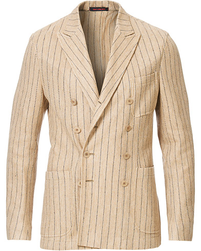The Gigi Linen Striped Cardigan Blazer Beige