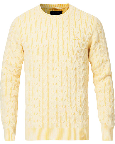 GANT Sunbleached Crew Neck Cable Pullover Sunlight