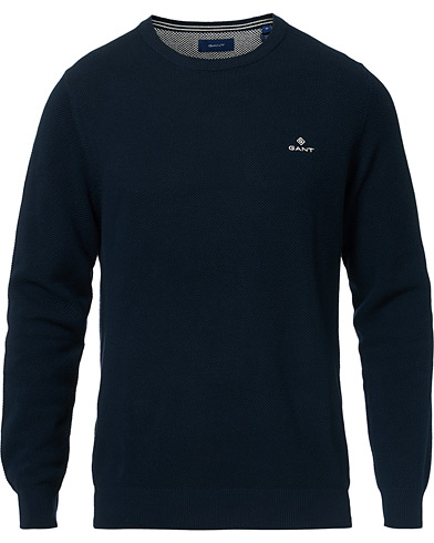 GANT Cotton Pique Crew Neck Evening Blue i gruppen Kläder / Tröjor / Stickade tröjor hos Care of Carl (16866111r)