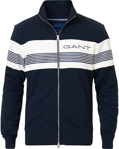 GANT Striped Full-Zip Evening Blue i gruppen Kläder / Tröjor / Zip-tröjor hos Care of Carl (16867011r)
