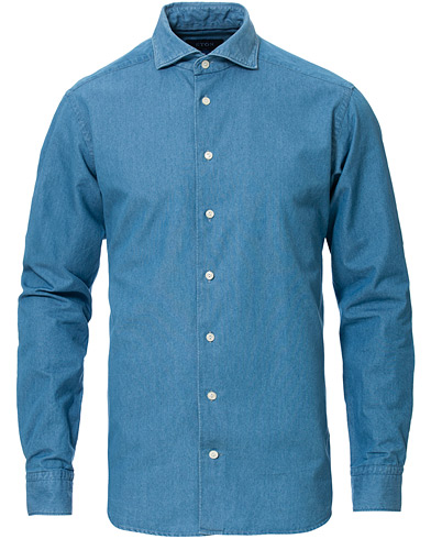 Eton Slim Fit Indigo Wide Spread Shirt Light Blue i gruppen Kläder / Skjortor / Casual hos Care of Carl (16892211r)