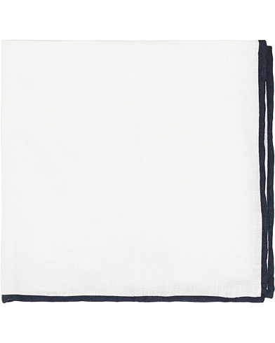 Amanda Christensen Linen Paspoal Pocket Square White/Navy