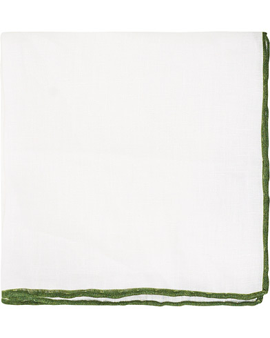 Amanda Christensen Linen Paspoal Pocket Square White/Green