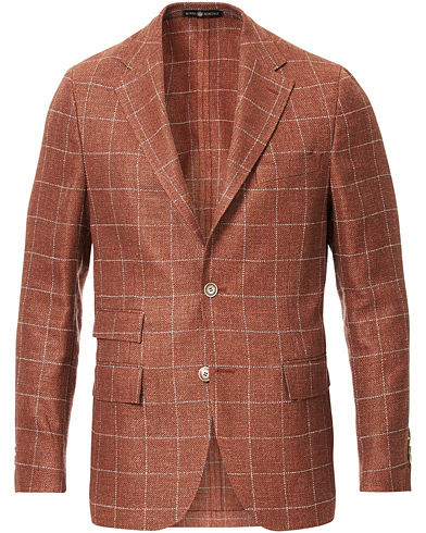 Morris Heritage Big Check Wool/Linen Blazer Orange