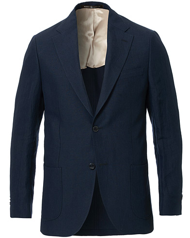 Morris Heritage Mike Patch Pocket Linen Blazer Navy