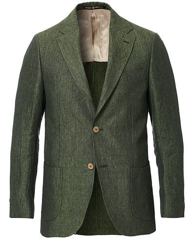Morris Heritage Mike Patch Pocket Linen Blazer Green i gruppen Kläder / Kavajer / Linnekavajer hos Care of Carl (16949211r)