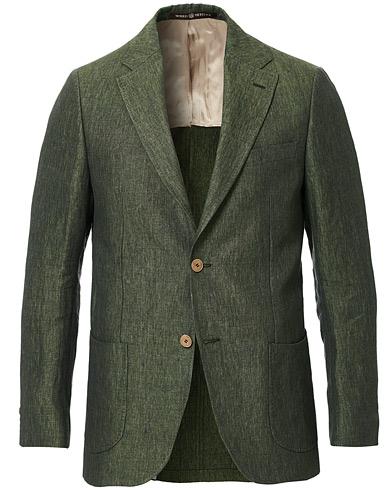 Morris Heritage Mike Patch Pocket Linen Blazer Green