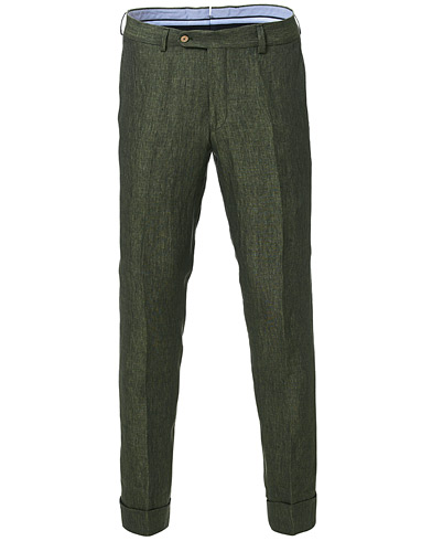 Morris Heritage Fred Linen Turn Up Trousers Green