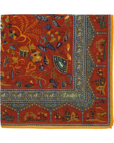 Drake's Cotton/Modal Moghul Pocket Square Red
