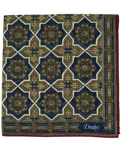 Drake's Cotton/Silk Baroque Tile Pocket Square Navy
