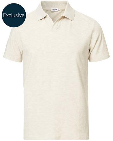 Filippa K Soft Lycra Polo T-Shirt Beige Melange