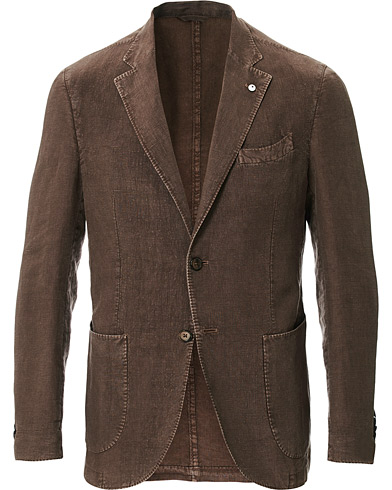 L.B.M. 1911 Jack Regular Fit Linen Blazer Brown
