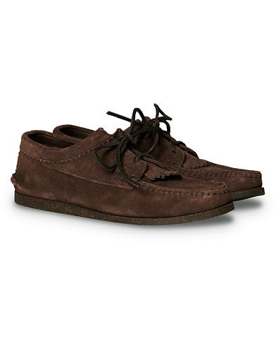 Yuketen Kiltie Blucher Boat Shoe Dark Brown Suede