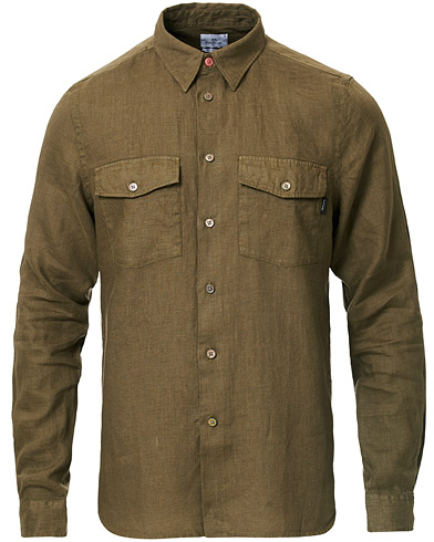 PS Paul Smith Tailored Fit Pocket Linen Shirt Olive