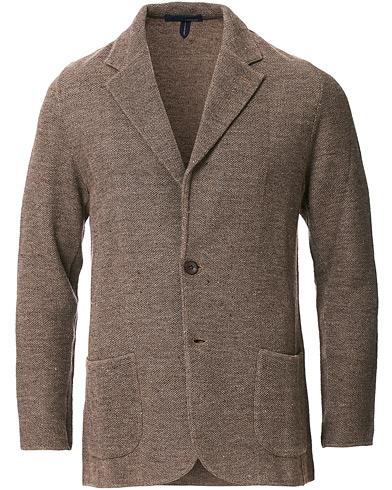 Lardini Knitted Linen/Silk Blazer Brown