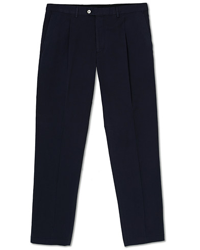 Oscar Jacobson Delon Pleated Cotton Chinos Blue