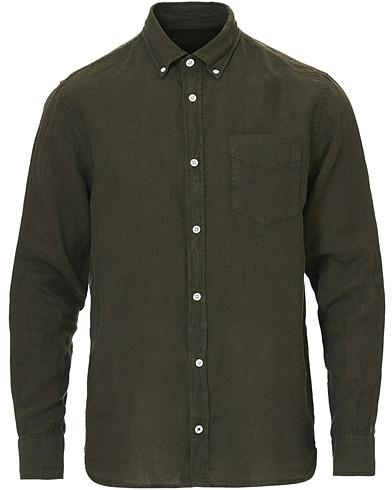 NN07 Levon Linen Button Down Shirt Army Green