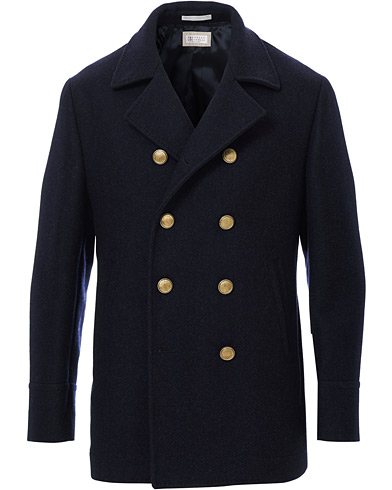 Brunello Cucinelli Double Breasted Wool Coat Navy
