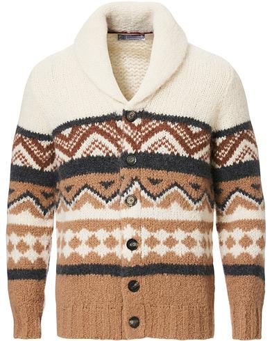 Brunello Cucinelli Alpaca Shawl Collar Cardigan Brown/White