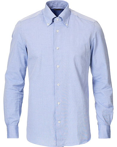 Mazzarelli Soft Oxford Button Down Shirt Blue