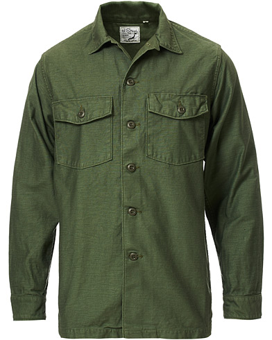 orSlow Cotton Sateen Army Overshirt Army Green 1 - XS