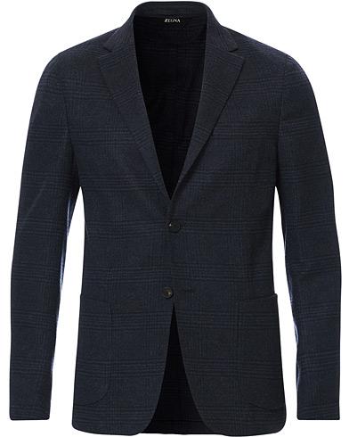 Z Zegna Deconstructed Wool Blazer Navy Blue