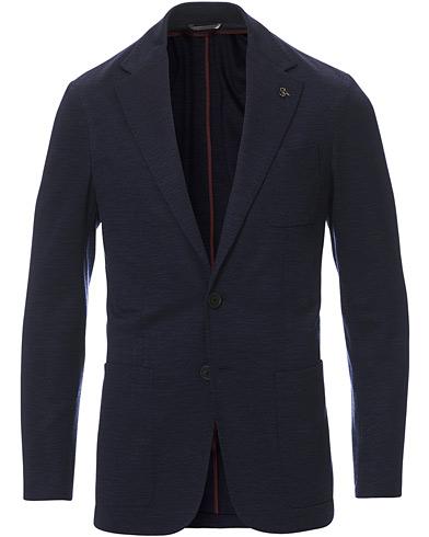 Canali Wool Jersey Blazer Dark Blue