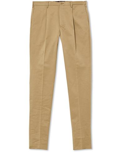 Incotex Slim Pleated Cotton Chinos Khaki