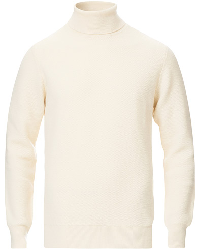 Piacenza Cashmere Honeycomb Cashmere Turtleneck Off White