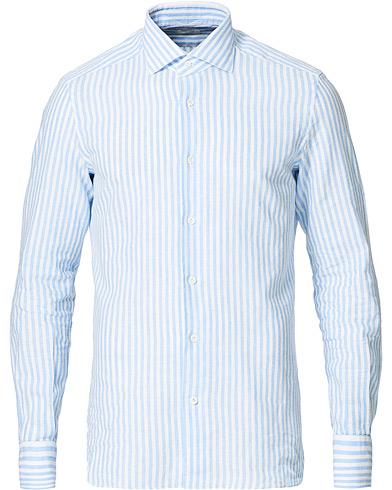 Mazzarelli Linen Striped Cut Away Shirt Blue/White