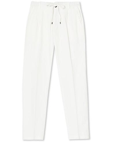 Briglia 1949 Drawstring Easy Fit Cotton/Tencel Trousers Off White