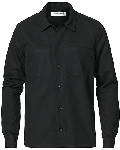 Samsøe & Samsøe Ruffo Cotton/Linen Overshirt Black i gruppen Kläder / Skjortor / Casual / Overshirts hos Care of Carl (20615211r)
