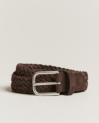 Anderson's Woven Suede Belt 3 cm Dark Brown