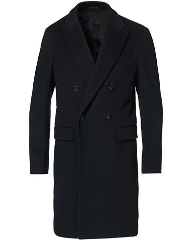 Giorgio Armani Double Breasted Cashmere Coat Navy
