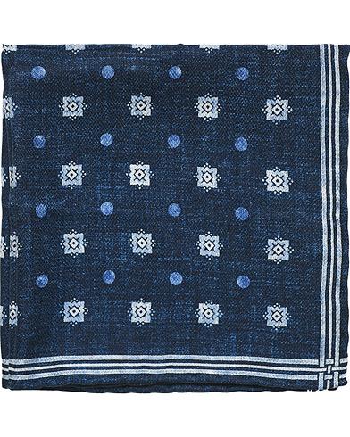 Brunello Cucinelli Micro Dot Silk Pocket Square Navy